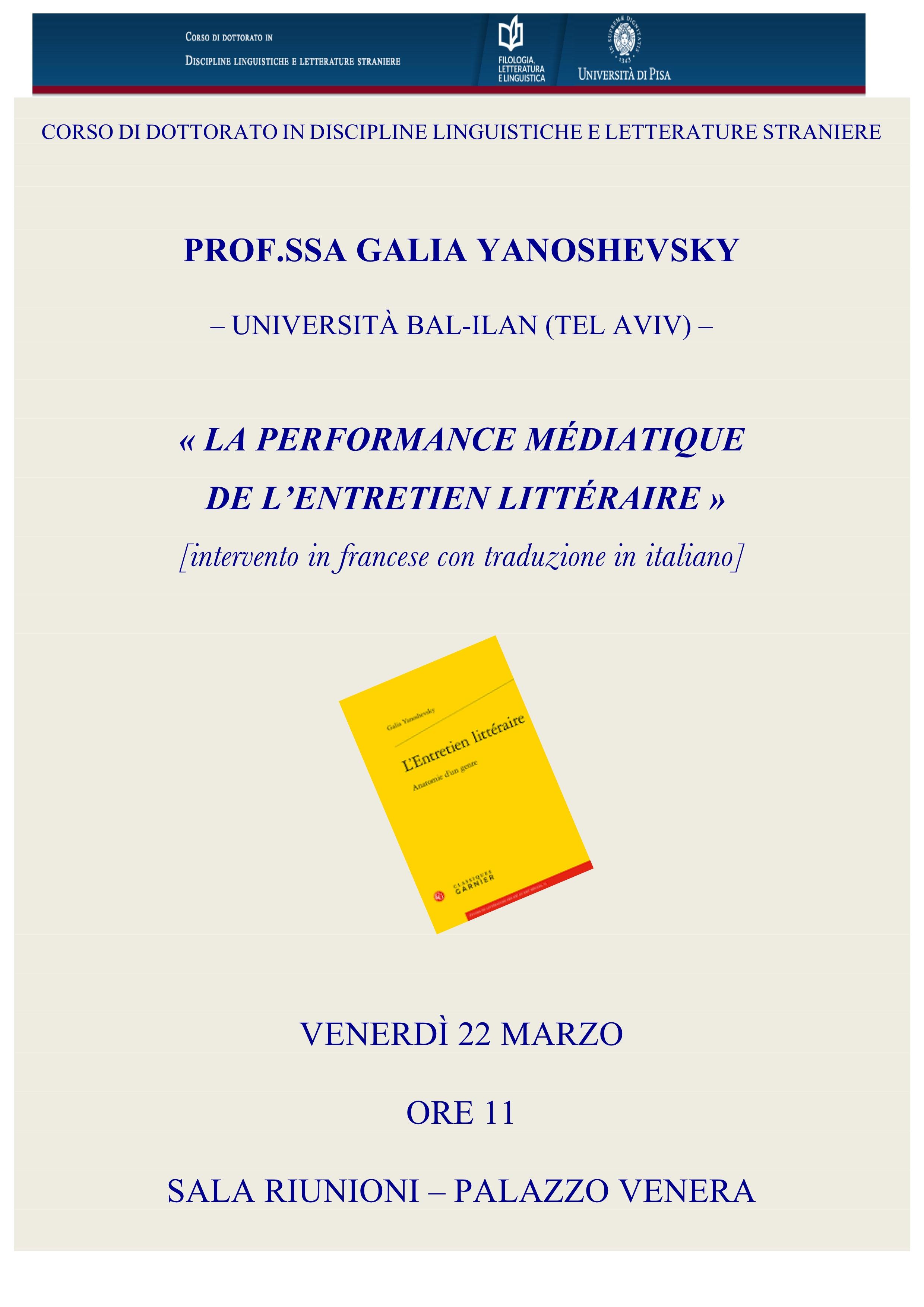 La performance médiatique de l'entretien littéraire: conferenza