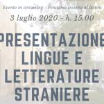 Presentazione in streaming del corso di laurea in Lingue e letterature straniere