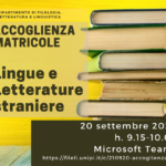 Accoglienza matricole Lingue e Letterature Straniere – 20 settembre, h. 9.16