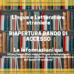 Riapertura bando Lingue e Letterature Straniere